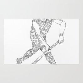 Field Hockey Player Doodle Rug