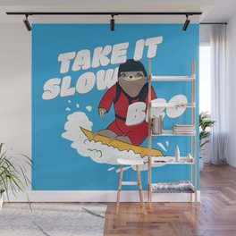 Take it Slow Bro - Funny Snowboarding Sloth Wall Mural