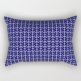Maritime Nautical Blue and White Small Anchor Pattern Rectangular Pillow