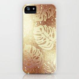 Beautiful Gold Glitter Leaf Pattern iPhone Case