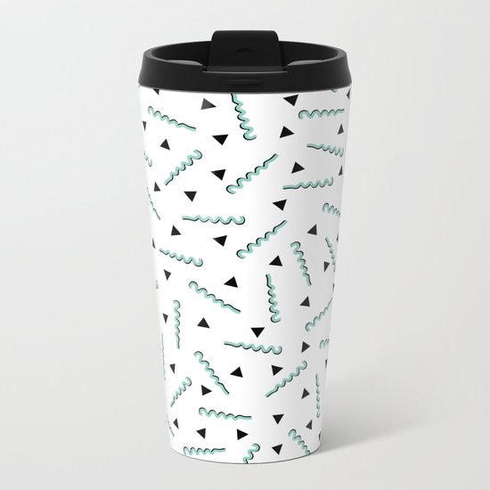 Retro Memphis Pattern Squiggle Green and Black Triangles Metal Travel Mug