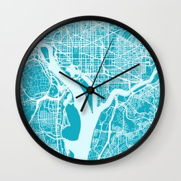 WASHINGTON DC City Map | US | Aqua | More Colors, Review My Collections Wall Clock