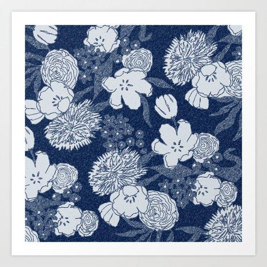 Sketchy Floral: Navy Tonal Art Print