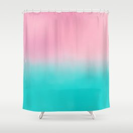 Artistic blush pink tropical turquoise watercolor ombre Shower Curtain