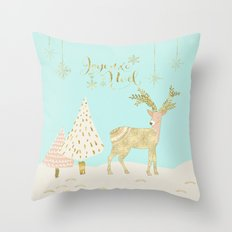 Merry christmas- gold deer - and xmas wishes on aqua backround Throw Pillow