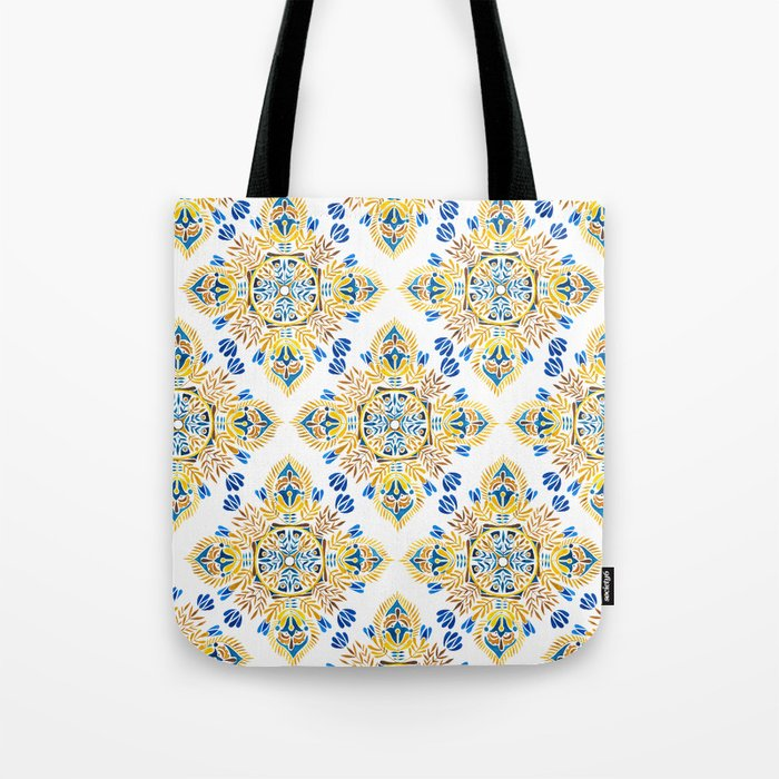 Wheat field with cornflower - mandala pattern Tote Bag