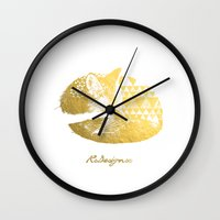 gold foil Wall Clocks featuring Gold Foil Baby Fox by RsDesigns