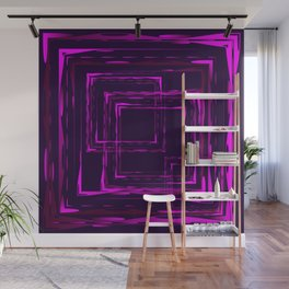 Abstract intersections of bright purple luminous rectangular curly objects Wall Mural