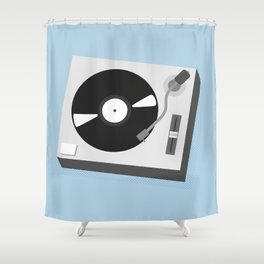 Turntable Illustration Shower Curtain