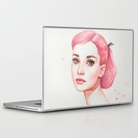 hepburn Laptop & iPad Skins featuring Audrey Hepburn by Black Fury