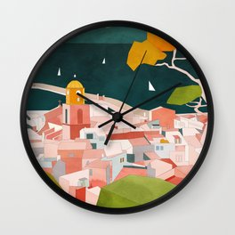 south france coast landscape Wall Clock