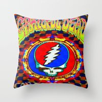 grateful dead Throw Pillows featuring Grateful Dead #8 Optical Illusion Psychedelic Design by CAP Artwork & Design