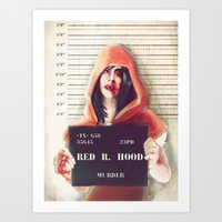 red riding hood Art Prints featuring Red Riding Hood by adroverart