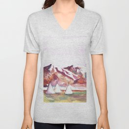 Three Jewels Watercolor Painting of Three Tipis Unisex V-Neck