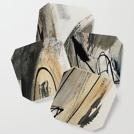 Drift [5]: a neutral abstract mixed media piece in black, white, gray, brown Coaster