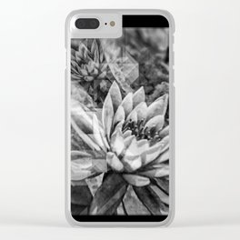 Black and White Lotus Flowers Clear iPhone Case