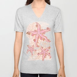 Starfish and Coral Pink Pastel Pattern Unisex V-Neck