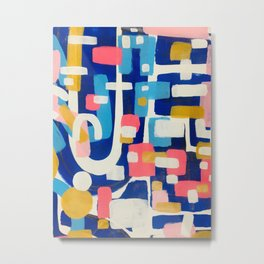 Graffiti Colorful Funky Acrylic Painting Pink Blue Yellow Patterns Shapes by Ejaaz Haniff Metal Print
