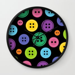 Colorful Rainbow Buttons Wall Clock