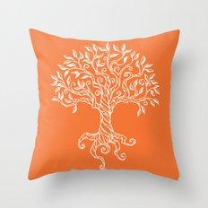Tree of Life Orange Throw Pillow
