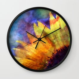 Sunflower Flower Floral on colorful watercolor texture Wall Clock