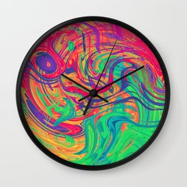 Abstract Multicolored Waves Wall Clock