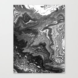 Izumi - spilled ink marble landscape abstract painting handmade art print texture black and white Canvas Print