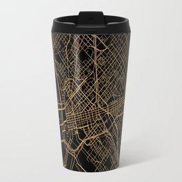 Black and gold Dallas map Travel Mug