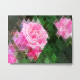 Pink Roses in Anzures 1 Art Triangles 2 Metal Print