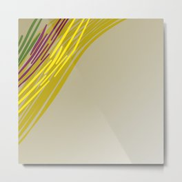wild lines : gold with green Elements Metal Print