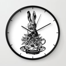 Rabbit in a Teacup   Black and White Wall Clock