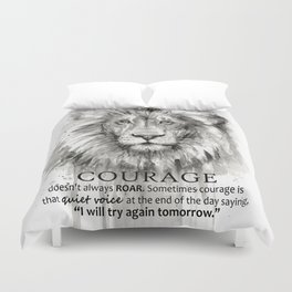 Lion Courage Motivational Quote Watercolor Painting Duvet Cover