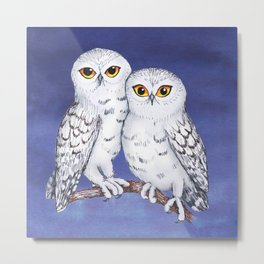 Two lovely snowy owls Metal Print