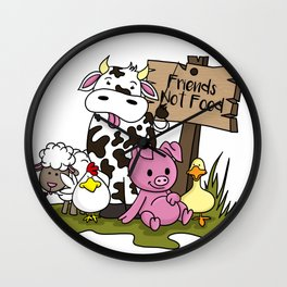 Friends Not Food Animal Rights Pig Cow present Wall Clock