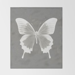 Butterfly on grunge surface Throw Blanket