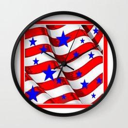 RED PATRIOTIC JULY 4TH BLUE STARS AMERICANA ART Wall Clock