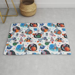 Watercolor Space Cats Rocket Ship Galaxy Pattern Rug