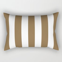 Coyote brown - solid color - white vertical lines pattern Rectangular Pillow