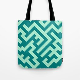 Magic Mint Green and Teal Green Diagonal Labyrinth Tote Bag