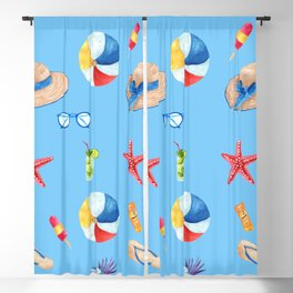 Time for the Beach, Summer Time Fun Blackout Curtain