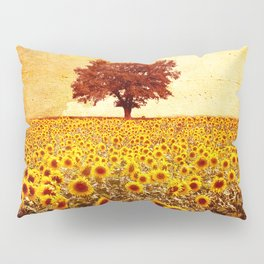 lone tree & sunflowers field Pillow Sham