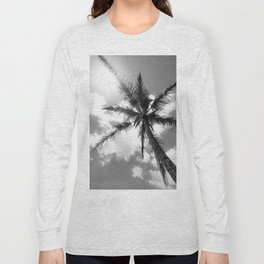 Tropical Palm Trees Black and White Long Sleeve T-shirt