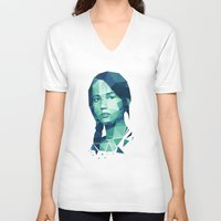 katniss V-neck T-shirts featuring Katniss Everdeen by Dr.Söd