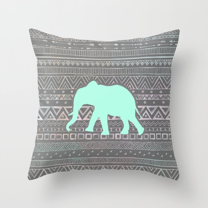 Malawi Elephant Throw Pillow : Mint Elephant Throw Pillow by sunkissedlaughter Society6