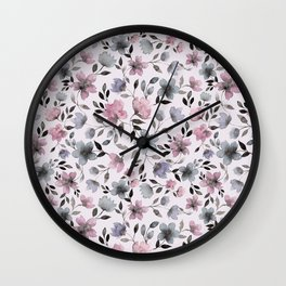 Watercolor floral pattern n.4 on pale pink Wall Clock