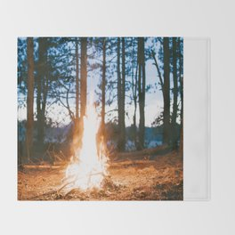 camp fire Throw Blanket