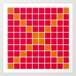 Magenta and Orange Grid Art Print