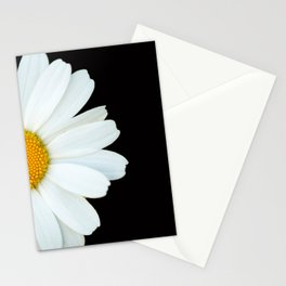 Hello Daisy - White Flower Black Background #decor #society6 #buyart Stationery Cards