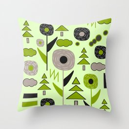 Flowers on a rainy day Throw Pillow