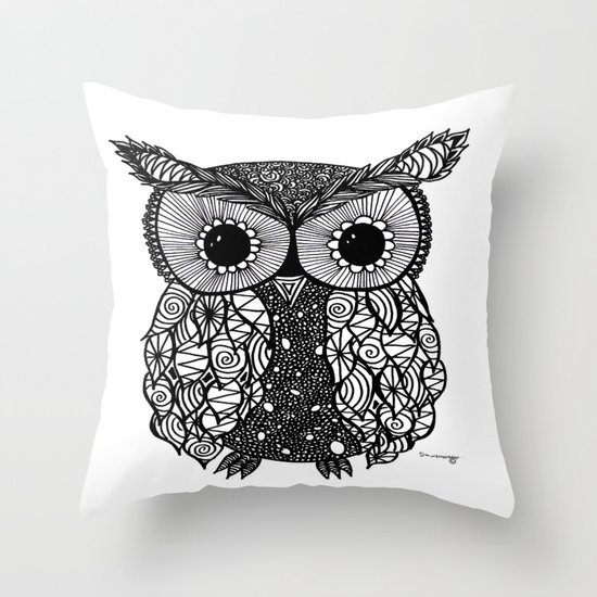 crazy owl Throw Pillow